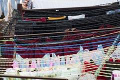 Área da lavanderia de Dhobi Ghat Mumbai imagens de stock