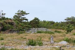 Área da natureza de Mølen em Brunlanes, Larvik, Noruega Foto de Stock Royalty Free