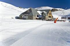 Área da restauração de Le Vallon na estância de esqui de Lary Soulan de Saint Fotografia de Stock