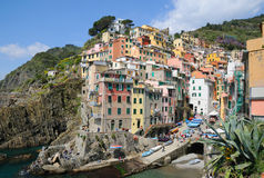 Área da vila de Riomaggiore em Cinque Terre Foto de Stock Royalty Free