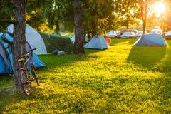 Área de acampamento das barracas no lugar natural bonito com árvores grandes e grama verde Imagem de Stock