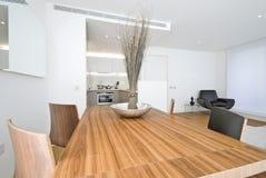 Área de cena moderna con el vector de madera Foto de archivo