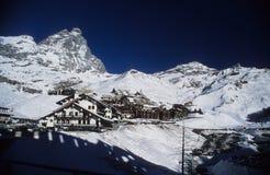 Área de Cervinia - montaña de Matterhorn Foto de archivo libre de regalías