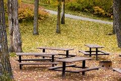 Área de comida campestre en otoño Fotografía de archivo