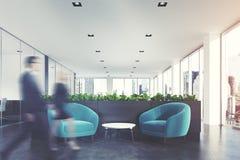 Área de espera azul das poltronas, grama, pessoa Fotos de Stock