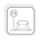Área de estacionamento do botão da silhueta para veículos ilustração stock