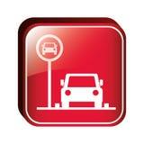 Área de estacionamento quadrada do botão para veículos ilustração stock