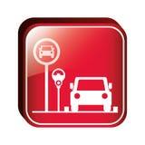 Área de estacionamento quadrada do botão para veículos com medidor de estacionamento ilustração royalty free