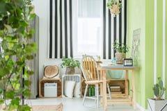 Área de estudo verde com janela foto de stock