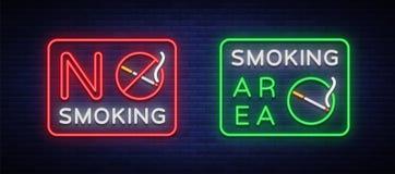 Área de fumo e sinais de néon do vetor não fumadores Símbolo de néon, ilustração stock