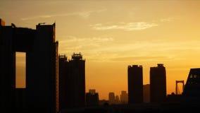 Área de la bahía de Tokio en la puesta del sol Imagenes de archivo