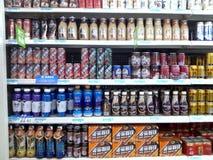 Área de la bebida y de la comida del supermercado fotografía de archivo libre de regalías