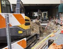 Área de la construcción donde se está poniendo la instalación de tubos Fotos de archivo libres de regalías