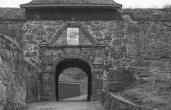 Área de la entrada en Fredriksten B&W Imagenes de archivo