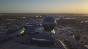 Área de la EXPO en Astaná en el fondo metrajes