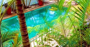 Área de la piscina y del jardín Imagen de archivo libre de regalías