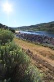 Área de la raza del Triathlon Fotos de archivo