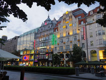 Área de lojas na luz de Europa Fotos de Stock Royalty Free
