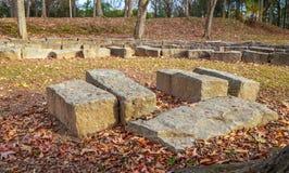 Área de pedra do pódio e de assento Foto de Stock