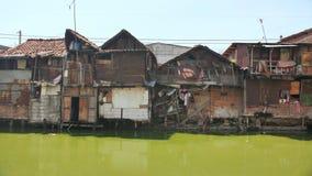 Área de precário no riverbank em Jakarta indonésia video estoque
