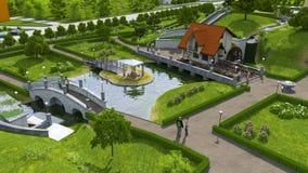 Área de reconstrucción con una charca y un puente. Foto de archivo libre de regalías
