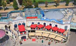 Área de Riesenradplatz en el parque de atracciones de Prater viena austria Imagen de archivo libre de regalías
