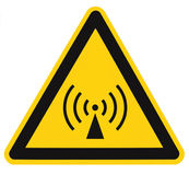 Área de seguridad inionizante del peligro de radiación, etiqueta de la etiqueta engomada de la señal de peligro del peligro, seña Fotos de archivo