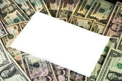 Área de texto branca em um fundo da moeda dos E.U. imagem de stock
