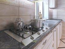 Área de trabalho na cozinha moderna Imagens de Stock