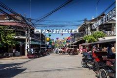 Área de turista da rua do bar da cidade de Siem Reap em cambodia fotografia de stock royalty free