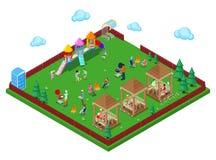 Área del Bbq de la parrilla de la familia en el bosque con el patio de los niños y la gente activa que cocinan la carne Ciudad is libre illustration