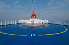 Área del helipuerto en la popa de la nave Fotografía de archivo libre de regalías