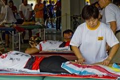 Área del masaje en la competición de ciclo Fotos de archivo libres de regalías