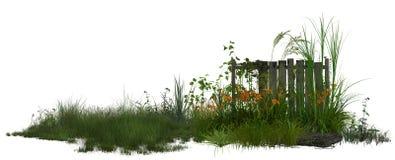 Área del prado con la cerca stock de ilustración