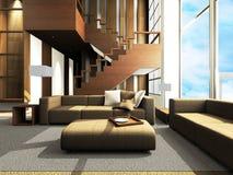 Área del sofá de una sala de estar moderna Fotografía de archivo libre de regalías