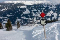 Área do esqui em Áustria com tempo fantástico fotografia de stock royalty free