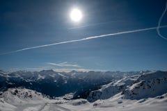 Área do esqui em Áustria com tempo fantástico foto de stock royalty free