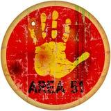 Área 51 do sinal de aviso ilustração stock