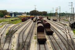 Área do trem de mercadorias da estação principal de Augsburg Fotografia de Stock