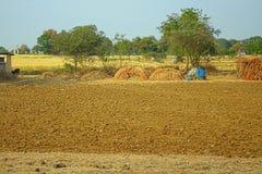 Área em torno de Nagpur, Índia Montes secos com os jardins dos fazendeiros dos pomares foto de stock royalty free