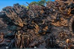 Área escénica de Buda del gigante de Lingshan y x22; abajo monstruos Road& x22; escultura de cobre grande Imagenes de archivo