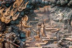 Área escénica de Buda del gigante de Lingshan y x22; abajo monstruos Road& x22; escultura de cobre grande Foto de archivo