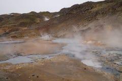 Área geotérmica, Seltún, suvik do ½ de KrÃ, Islândia Fotos de Stock