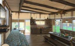 A área habitável central da casa de praia, 3d rende Imagem de Stock Royalty Free