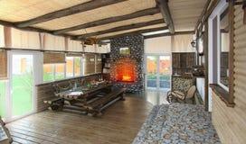 A área habitável central da casa de praia, 3d rende Imagens de Stock Royalty Free