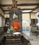 A área habitável central do bungalow, 3d rende Fotos de Stock