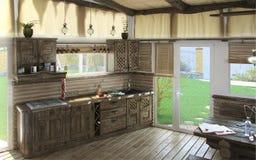 A área habitável central do bungalow, 3d rende Imagens de Stock Royalty Free