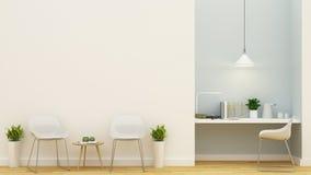 Área habitável e projeto azul pastel do espaço de trabalho - rendição 3D Fotos de Stock