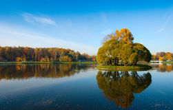 Área idílico do parque perto do lago azul Fotografia de Stock Royalty Free