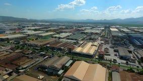 Área industrial de la producción de la fábrica Zona de la industria pesada de la visión aérea almacen de video